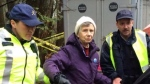 An obviously violent 84 year old B. Grant arrested by our vigilant security forces , Burnaby Mountain