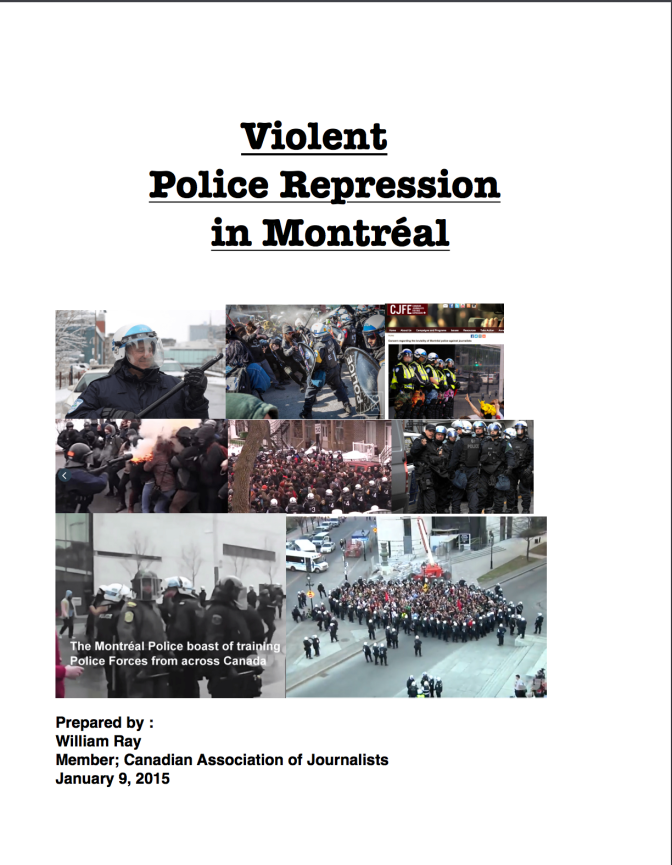 Violent Police Repression of Media in Montréal, business as usual